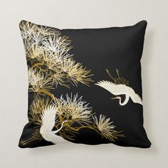 Japanese Cranes Black Gold White Birds pillow Size: Throw Pillow x Color: black/gold/white. Hand Work Embroidery, Embroidery Patterns Free, Silk Ribbon Embroidery, Embroidery For Beginners, Embroidery Kits, Japanese Bedroom, Japanese Crane, Bird Pillow, Japanese Patterns