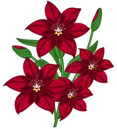 Цветы красные клипарт