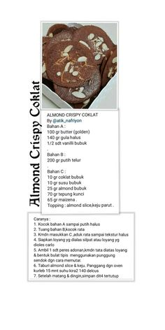 Almond Cookie Recipes, Snack Recipes, Dessert Recipes, Snacks, No Bake Cookies, Cake Cookies, Baking Cookies, Indonesian Desserts, Resep Cake