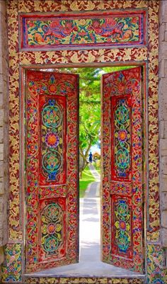 The doors in Bali, Indonesia are so colorful.The doors in Bali, Indonesia are so colorful. Cool Doors, The Doors, Unique Doors, Windows And Doors, Front Doors, Entry Doors, When One Door Closes, Knobs And Knockers, Door Gate