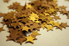 Shimmer Bronze Star Confetti Scrapbook by PicksandStones on Etsy, $3.00