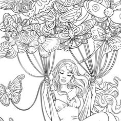 Adult Coloring Page Fantasy Butterfly Moths People Coloring Pages, Detailed Coloring Pages, Love Coloring Pages, Adult Coloring Book Pages, Fairy Coloring, Printable Coloring Pages, Coloring Books, Colorful Drawings, Colorful Pictures