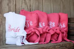 Set of 4 Personalized Embroidered Robe / Bridesmaid gift / wedding robe / wedding gift Bath Robes / Waffle Weave