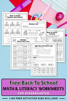 These free kindergarten back to school worksheets for kindergarten were a great addition in my classroom. The set includes kindergarten sight words, addition worksheets, counting activities, and more. The kindergarten math worksheets are so fun and include so many cute graphics, just like a game. The printables activities can be used during homeschool, or in the classroom for kindergarten and first grade students. #kindergartenclassroom