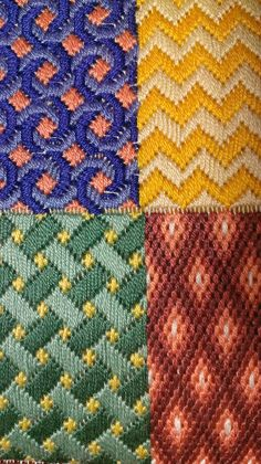 The Framed Scotch Stitch is a variation of the popular Scotch Stitch. It features Scotch Stitch blocks framed by tent stitch border.Make a myriad of designs and effects with these 54 needlepoint stitches, from basic to fancy. Broderie Bargello, Diy Broderie, Bargello Needlepoint, Needlepoint Stitches, Needlepoint Canvases, Cross Stitch Embroidery, Embroidery Patterns, Hand Embroidery, Cross Stitch Patterns
