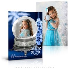 5x7 flat christmas card snow globe snowflakes photography templatesfree - Free Comp Card Template