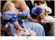 blue and brown bridesmaids dresses with blue hydrangea bouquets, brown and blue wedding details from Melissa & Jason on Christina Montemurro Photography