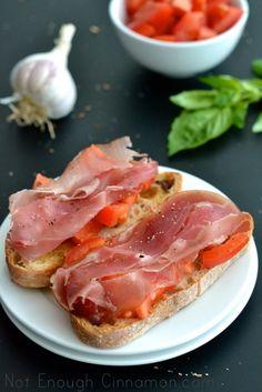 Tomato and Prosciutto Bruschetta by notenoughcinnamon  #Bruschetta #Prosciutto #Tomato