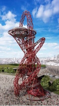 The Orbit Tower---with Olympic Stadium to the side--- artist Anish Kapoor, structural engineer Cecil Balmond.  Only one (!) thread  keeps coming up and down.