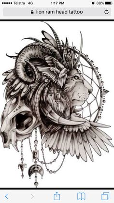 Lion ram head tattoo