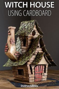 Craft a spooky and detailed witch house using cardboard. & Craft a spooky and detailed witch house using cardboard. The post Craft a spooky and detailed witch house using cardboard. & appeared first on Craft Ideas. Putz Houses, Fairy Houses, Box Houses, Tree Houses, Fun Diy Crafts, Diy Craft Projects, Craft Ideas, Decor Crafts, Decor Ideas
