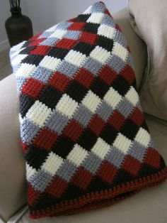 """Red White Grey Black Crochet Baby Blanket Afghan - Handmade. --- links to a """"shop"""".  I just like the pattern and I think it would be super easy."""