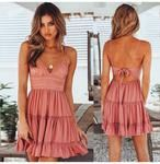Summer Dress Spaghetti Strap Bow Dress Modern Look V neck Sleeveless Body-Con Ideal for Beach Backless Lace Patchwork Dress Vestidos Sexy Dresses, Lace Summer Dresses, White Dress Summer, Little White Dresses, Beach Dresses, Summer Dresses For Women, Trendy Dresses, Casual Dresses, Bow Dresses