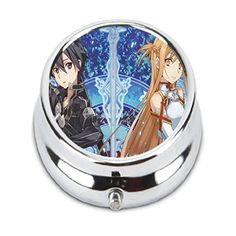 Turui Sword Art Online Custom Fashion HOT Round Pill Box stainless steel Useful Medicine Organizer Box Gift *** Find similar products by clicking the VISIT button