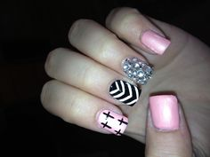 cross, chevron, black, pink, & silver nails