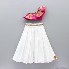 Pre Order: One Shoulder Crop Top With White Skirt Kids Indian Wear, Kids Ethnic Wear, Indian Clothes For Kids, Indian Dresses For Kids, Indian Gowns, Girls Frock Design, Baby Dress Design, Baby Frocks Designs, Kids Frocks Design