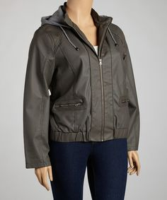 Take a look at this Charcoal Hooded Faux Leather Jacket - Plus by Beverly Hills Polo Club on #zulily today!
