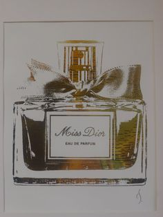 Miss Dior Perfume Bottle 24K Gold by ISeeNoise on Etsy, $25.00 -- this along with the other designs by ISeeNoise would make great wall decor!