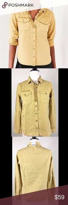 NWT Small Urban Outfitters Gold Button Down Top Brand New With Tags Urban Outfitters Button Down Top Size: Small Yellow washed button down long sleeve top. Features bronze hardware snap buttons. Two buttoned breast pockets. 