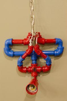 Hanging upside down spiderman pipe lamp