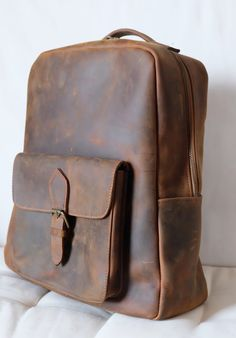 Backpack  buffalo leather  hand made  zaino in pelle  di PiBuShop