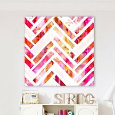 Bedroom canvas idea Oliver Gal Sugar Flake Herringbone Canvas Wall Art
