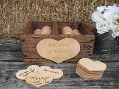 GUEST BOOK ALTERNATIVE Rustic Wedding Divided Rustic Barnwood Style Box with Engraved Personalization  - Item 1399. $96.00, via Etsy.