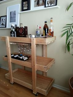 18+DIY+Bars+and+Bar+Carts+-+DIY+bar+cart+made+from+scrap+wood.