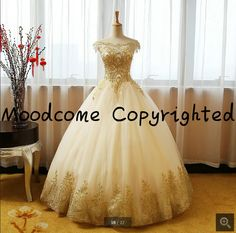 Ball gown champagne cheap wedding dress gold lace sexy off the shoulder sleeves puffy wedding gowns 2017 princess bride gowns -in Wedding Dresses from Weddings & Events on Aliexpress.com | Alibaba Group