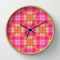 Pattern pink 3 Wall Clock by Christine baessler - $30.00