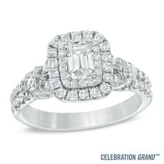 Celebration+Grand®+1-1/6+CT.+T.W.+Emerald-Cut+Diamond+Frame+Engagement+Ring+in+14K+White+Gold+(I/I1)