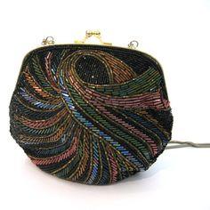 vintage Beaded Handbag / Intricate Seed and Bugle Bead Purse / vintage Evening Bag
