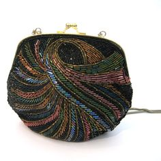 vintage Beaded Handbag / Intricate Seed and Bugle Bead Purse / vintage Evening Bag