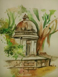 Painting of Indian Temple,Size:29.7 x 42.0cm