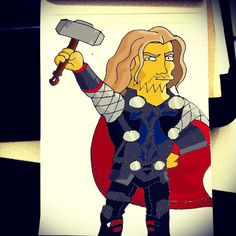 """""""D'ohr! #Homer #Simpson #Thor #Homerization  #instadaily #art #instagramers #igers #followback #igaddict #instagood #iphonesia #igdaily #follow #awesome…"""""""