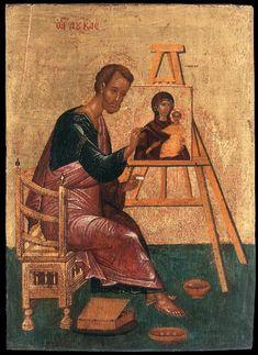 Caput Mundi: Saint Luke The Evangelist-Ora Pro Nobis Byzantine Icons, Byzantine Art, Religious Icons, Religious Art, Luke The Evangelist, Gospel Of Luke, Russian Icons, Catholic Art, Orthodox Icons