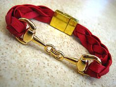 Thick Braided Red Leather Bracelet with Gold Equestrian Snaffle Bit and Gold Plated Magnetic Clasp   by BeachSideLeathers, $18.99