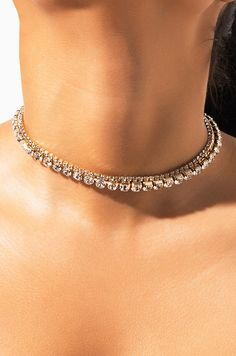 Diamond Necklace / Gold Round Cut Diamond Trio Cluster Necklace / Three Diamond Floating Necklace / Everyday Jewelry / Black Friday Every woman needs some sparkle in her life. Layered Choker Necklace, Layered Chokers, Diamond Cross Necklaces, Diamond Choker, Rhinestone Choker, Cluster Necklace, Circle Necklace, Choker Jewelry, Bullet Jewelry