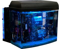 Yup, that is a computer running in an aquarium :)  The trick?  Mineral oil instead of water!