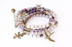 Bracelet with precious stones fluorite und rose quartz, 19,95 €