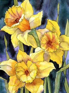 Image result for loose painting of daffodils