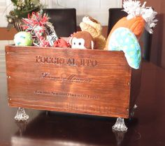 Wine Crate Pet Toy Box by MyVintagePaws on Etsy, $75.00