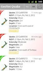The official GeoNet Quake app for Android. Gives you an instant automatic estimate of new quakes. These are then reviewed later and adjusted by staff. Usually pretty close though. #android #apps #nz #chc #eqnz