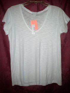 NWT JAMES PERSE SHEER Cap Sleeve Tee T-Shirt Top Sz 3/L WHITE Modal $95  #JamesPerse #BasicTee