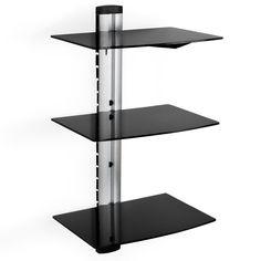 TecTake TecTake Wandregal Glasregal TV Wandhalterung für Blu-ray DVD Player Receiver Hifi Geräte - diverse Modelle - (3 Ablagen Schwarz/Silber (400349)): Amazon.de: Küche & Haushalt