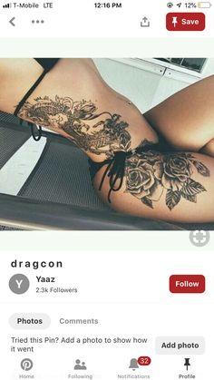 Waist Tattoos, Leg Tattoos Women, Dog Tattoos, Body Art Tattoos, Small Tattoos, Sleeve Tattoos, Side Hip Tattoos, Dragon Thigh Tattoo, Arm Tattoo