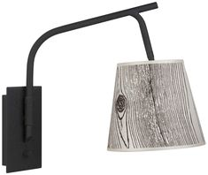 Walker Black Swingarm Wall Lamp with Faux Bois Light Shade is a quality for your ideas. Silver Walls, Black Walls, Led Wall Lamp, Modern Wall Sconces, Modern Spaces, Light Shades, Light Up, Wall Lights, Rustic