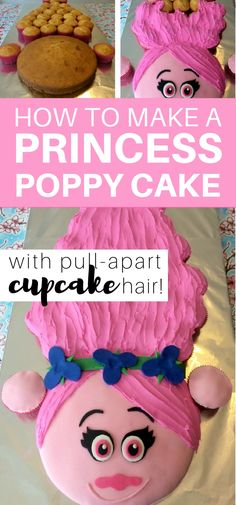 How to make a Princess Poppy cake with pull-apart cupcake hair: step by step tutorial to make a Trolls Princess Poppy Cake cake decorating tips and tricks Pull Apart Cake, Pull Apart Cupcakes, Princess Poppy Birthday Cake, Princess Cupcakes, Princess Party, Bolo Trolls, Trolls Cakes, Cupcake Torte, Easter Cookies
