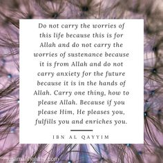 SubhanAllah. Why do we stress? Why do we worry? If only focus on Allah and gaining His pleasure, nothing else matters. He will take care of the rest.
