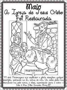"""As Tontas Vão Ao Céu: Cartaz de Maio para Colorir - """"A Igreja de Jesus C..."""